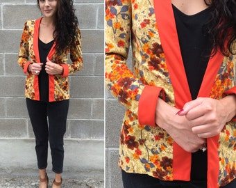 70s fall floral open robe / cardigan