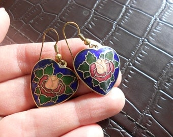 Vintage cloisonne earrings.  Hearts.  Valentine.  Rose.