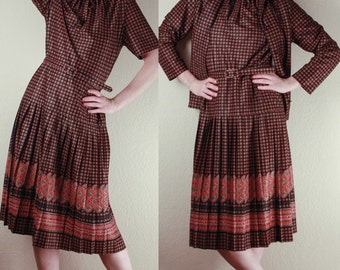 70's Drop Waist DRESS & JACKET // Pleated Skirt // Art Deco 1930's Inspired Shift Dress // Size Small