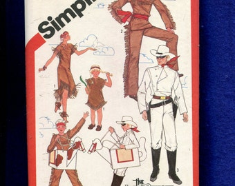 Vintage 1981 Simplicity 5298 The Lone Ranger Tonto Silver & Scout  Costumes for Adults Size 34 Chest/Bust UNCUT
