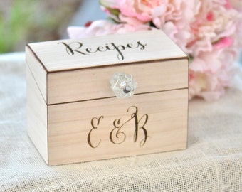 Personalized Recipe Box Wooden Home Decorations Wedding Gift
