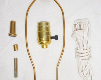 "10"" Lamp Wiring Kit Harp, Socket, Cord, Finial Brass Plated"