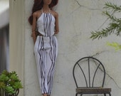 Lola Printed Jumpsuit in Black and White for 11.5-inch Fashion Dolls like Made to Move Barbie and Poppy Parker