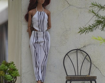 MADE TO ORDER - Lola Printed Jumpsuit in Black and White for 11.5-inch Fashion Dolls like Made to Move Barbie and Poppy Parker