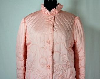 Vintage Quilted Robe I. Magnin Rose Hong Kong NOS Medium