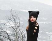 Knit Cat Ear Hat Black, Cat Ear Beanie, Cat Hats, Chunky Knit Cat Hat, Winter Accessories, Winter Hat, Black Hat Woman, Winter Knit Hats