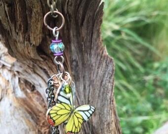 """OOAK Butterfly Bottle Charm Necklace, 18"""""""