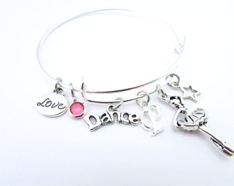 Dance Gifts, Dance Jewelry, Dance Bracelet, Gift for Dancer, Ballet Bracelet, Ballet Slippers, I love Dance