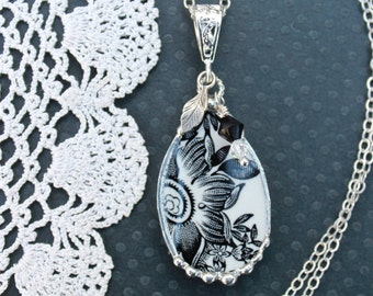Necklace, Broken China Jewelry, Black and White, Teardrop Pendant, Sterling Silver