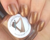 Macarooooon (mini size & full size) Brown and gold glitter indie polish by Fedoraharp Lacquer