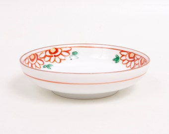 Vintage Japanese Bowl Footed Sauce Dish Japan Dipping Bowl Hand Painted Red Flowers Gold Accents Soy Sauce Dish