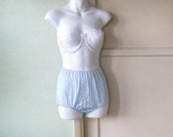 Frosty Blue Vintage Panties - High-Waisted Panties - Women's Medium Granny Panties - Big Girl Panties - Blue Boudoir Cosplay Panties