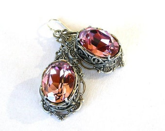 Victorian Gothic Crystal Earrings Swarovski Antique Punk Earrings Gothic Bridal Earrings Victorian Gothic Jewelry