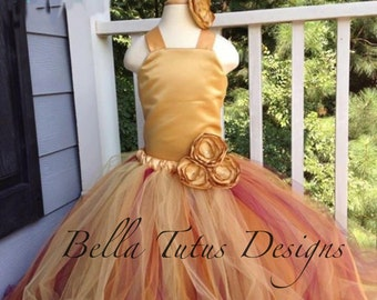 Flower Girl Tutu Dress Floor Length Sewn Tutu Dress Gold and Burgundy with Satin Corset and Satin Flower Clip 6 months-10 CUSTOMIZABLE