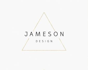 Premade Logo - Photography - Designer - Small Business - Logo Design - Modern Geometric Triangle Gold Logo