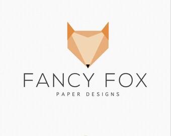 Premade Logo Design - Modern Geometric Fox Logo - Paper Design Logo - Origami Logo - Watermark - Branding - Photography Logo