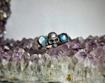 Calavera Crystals Collection Labradoite and Rainbow Moonstone Ring