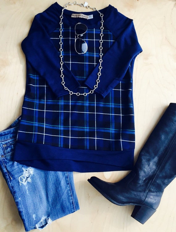 Plaid front and French Terry Raglan Baseball Sweatshirt Top