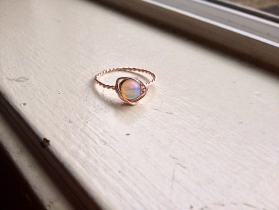 Opalite Wirewrapped Ring with Rose Copper - Any Size - Crystal Healing Spiritual Jewelry - Passion, Creativity, Crystal Band Ring