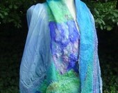 Felted scarf, felted shawl,hand made,organic art,design art, wearable art,fashion scarf,perfect gift,fairy design
