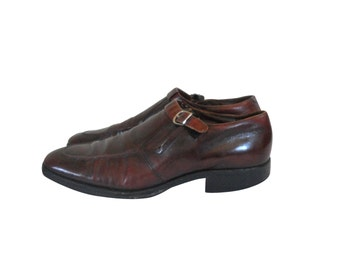 Oxblood Leather Shoe Men Monk Strap Shoe 60s Shoe Men Dress Shoe 70s Shoe Men Loafer Slip On Shoe Retro Shoe Vintage