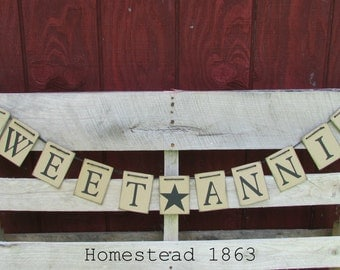 Sweet Annie Sign, Sweet Annie Banner, Light Weight Chipboard Garland, Primitive Sign, Shop Keep Signage, Rustic Display, Primitive Decor