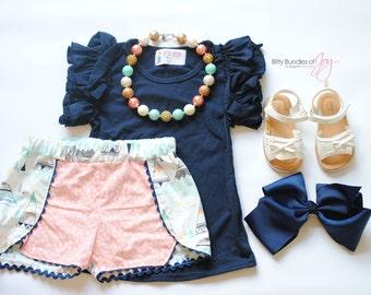 "Girls Coachella Shorts - Tee Pee Shorts - Arrow Shorts - Tribal Summer Outfit - Tribal Birthday Outfit - ""Wild & Free"" Shorts"