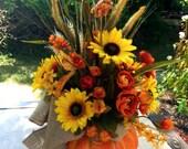Fall Centerpiece Autumn Centerpiece Pumpkin Autumn Floral Arrangement Table Thanksgiving Autumn Pumpkin