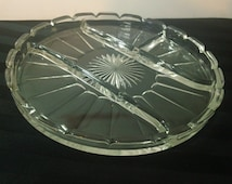 Vintage Indiana Glass Clear Colonial Panel design Four-Part Divided Relish Dish