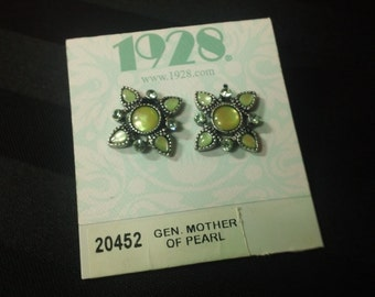 Vintage 1928 Jewelry Company Filigree Spring Green Mother of Pearl Post Earrings