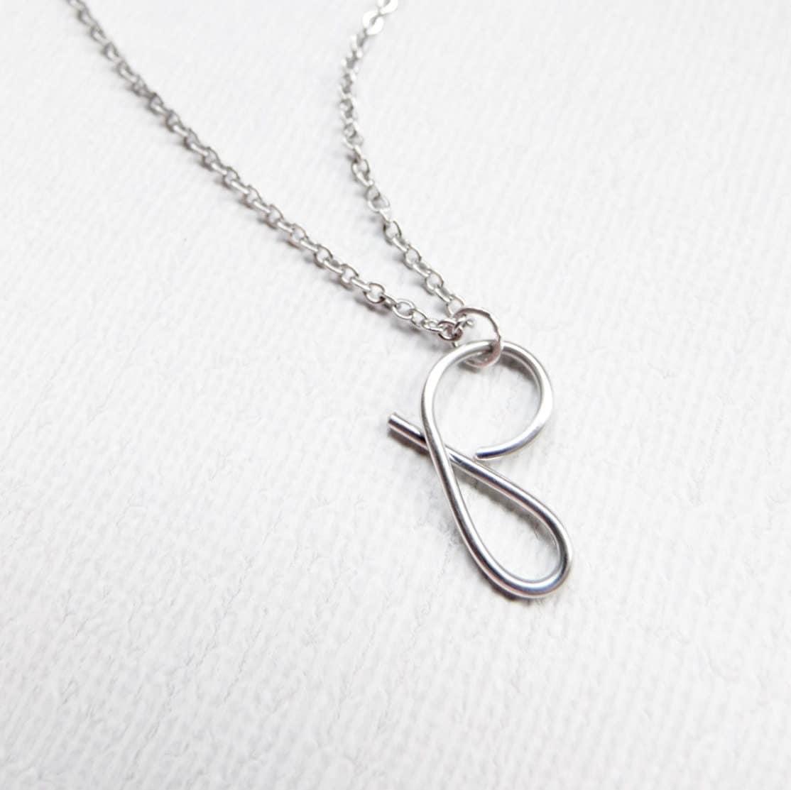 worksheet Cursive P letter p necklace silver initial cursive necklace