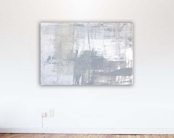 "Large abstract painting, minimalism, Titled 'Shades of Gray' in grays and white with a hint of pink 30"" x 48"""
