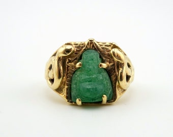 CLEARANCE SALE Victorian snake ring w/ Jade Buddha, 10k gold ring, 1800's serpent ring, Chinese jade ring, Asian ring, men's unisex