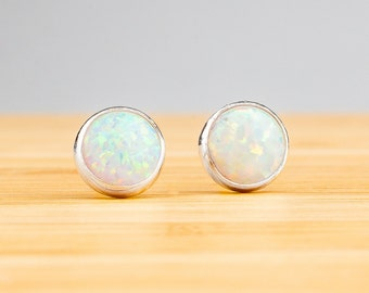 White Opal Earrings - Opal post stud earrings in Sterling Silver - Small 6mm or 4mm simulated white opal gemstone studs - Gift for her