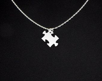 Puzzle Piece Necklace - Puzzle Piece Jewelry - Puzzle Piece Gift - Autism Jewelry - Autism Necklace