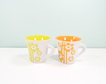 Mid Century Floral Mugs / Pair of Coffee Cups / His and Hers Mug / MOD Floral Design / Retro Kitchen Housewarming Gift / Flower Power Mug