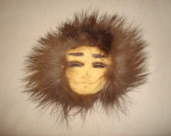 Vintage Alaska Eskimo Fur Art Wall Hanging Mini Mask