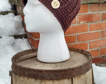 Brown Wool Hat Crocheted with Button, Wool Winter Hat, Brown Wool Beanie, Brown Hat for Women, Crochet Wool Hat, Wool Beanies, Wool Hat