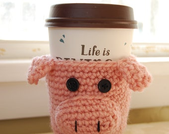 Pig Coffee Cozy, Crochet Coffee Cozy, Crocheted Pig Cozy, Pink Pig Cozy, Pig Cozies, Crochet Animal Cozy, Animal Cup Cozy, Pig Cup Cozy