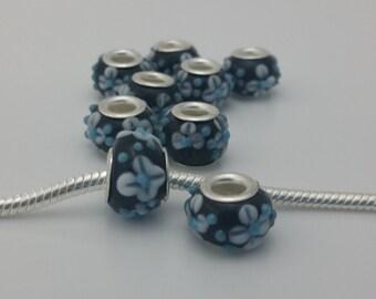 9 Beads - DESTASH Black White Blue Flowers Glass Silver European Bead Charm T0217