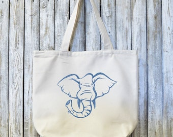 ELEPHANT, Organic Canvas Tote Bag, Reusable Grocery Bag, Made in USA,