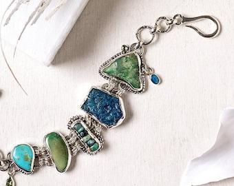 Big bold bracelet, raw precious multi gemstones link bracelet, Sterling Silver  chunky statement bracelet, Gypsy Bohemian jewelry