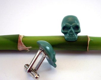 Green Skull Cuff Links Skulls Jewelry alternative wedding groomsmens gifts