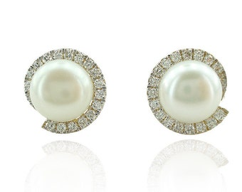 Pearl Earrings, Pearl and Diamond Earrings, Bridal Earrings, Pearl Jewelry, 14K Pearl Earrings, Diamonds Studs, For Her, Fast Free Shipping