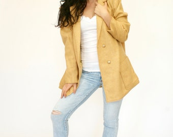 60's Vintage Women's Gold Jacket, Women's Car Coat, Double Breasted Jacket, Tan Jacket, Women's Large