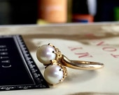 VALENTINES DAY SALE Antique Toi et Moi Pearl Gold Ring Crown Filigree 1920s by Bda Budlong Docherty Armstrong Vintage Alternative Engagement