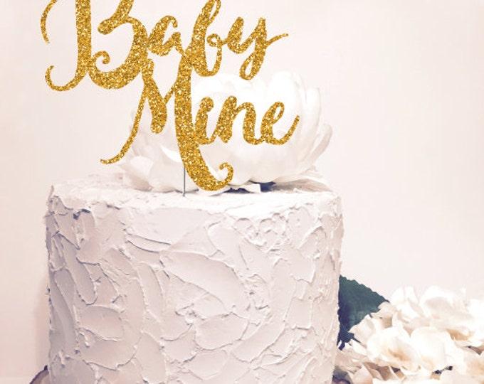 Baby Mine Cake Topper. Chic baby shower decor. Gold Glitter Sparkle. Cursive Script letter.