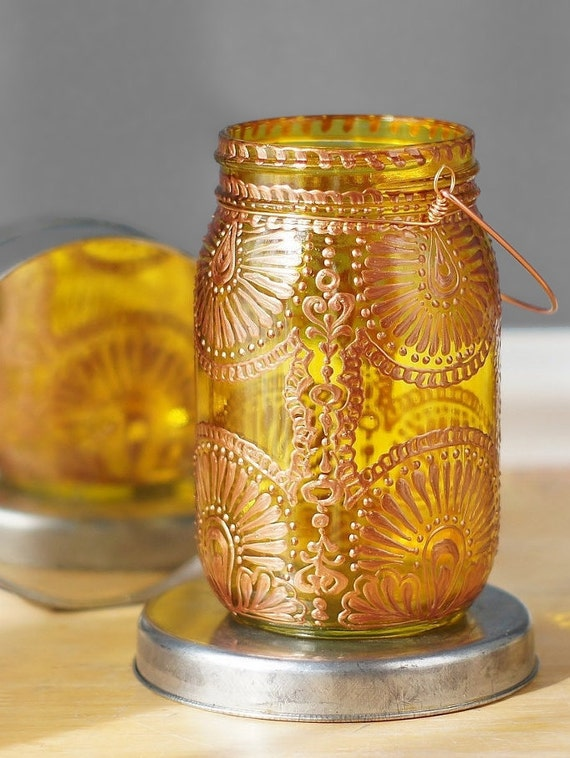 Mason Jar Decor, Boho Lighting Hanging Mason Jar Lantern, Painted Mason Jar Outdoor Lantern, Moroccan Lantern Jar Light, Bohemian Lantern