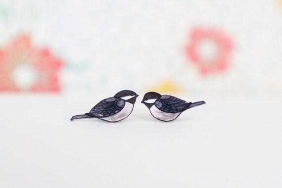 Chickadee Earrings | Studs or Dangle Earrings | Bird Jewelry | Gifts Under 25 | Wearable Art