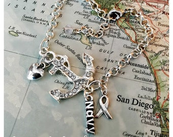 US Navy sideways anchor bracelet by Son and Sea FREE US shipping